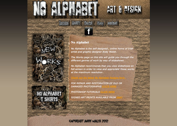 No Alphabet Website Design by Andy Walsh