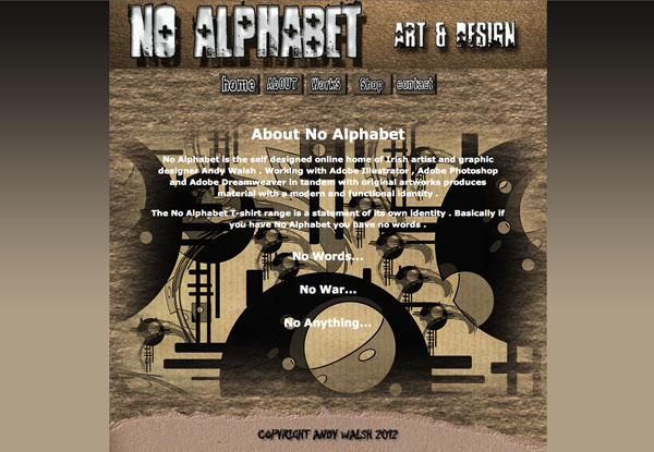 No Alphabet Website Design by Andy Walsh