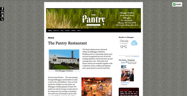 The Pantry Kilbeggan Website Design