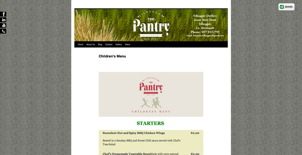 The Pantry Kilbeggan Menu Page